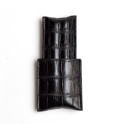 Image de étui à cigares en cuir 1/3 noir croco