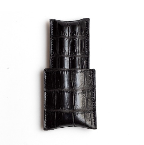 Picture of Leather Cigar Case 1/3 Black Croc