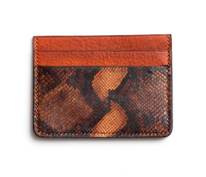 Image de Portefeuille pour carte de crédit en cuir orange 1/1